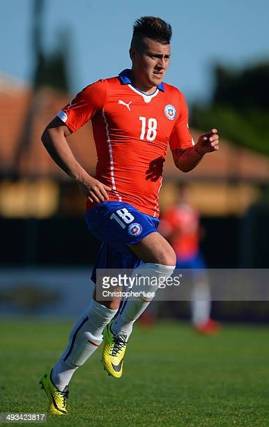 Nicolas Castillo of Chile in action during the Toulon Tournament Group A match between Portugal and Chile at the Stade Perruc on May 23 2014 in...