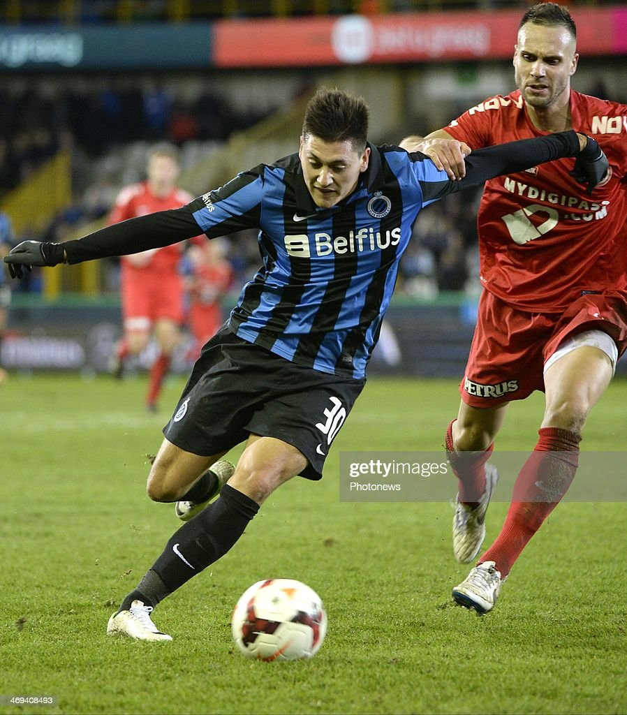 Nicolas Castillo of Club Brugge KV and Maxime Chanot of KV Kortrijk during the Jupiler Pro League match between Club Brugge and KV Kortrijk on February 14, 2014 at the Jan Breydel Stadium in Brugge, Belgium.