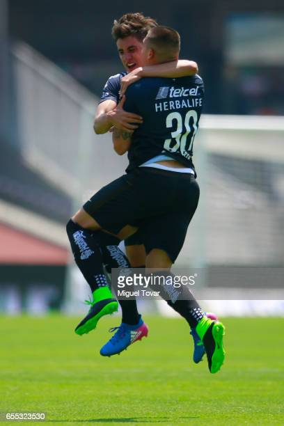 Nicolas Castillo of Pumas celebrates after scoring the first goal of his team during the 11st round match between Pumas UNAM and America as par of...