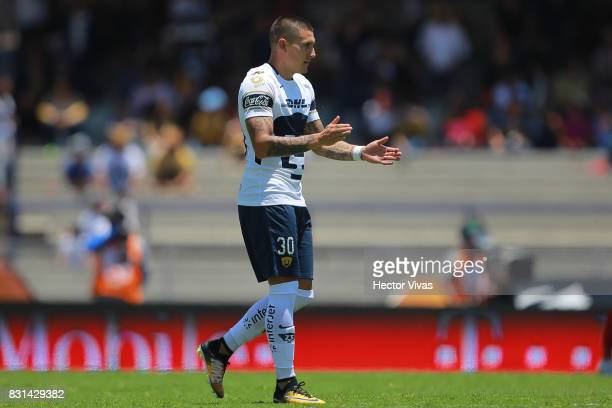 Nicolas Castillo of Pumas celebrates after scoring the first goal of his team during the fourth round match between Pumas UNAM and Lobos BUAP as part...