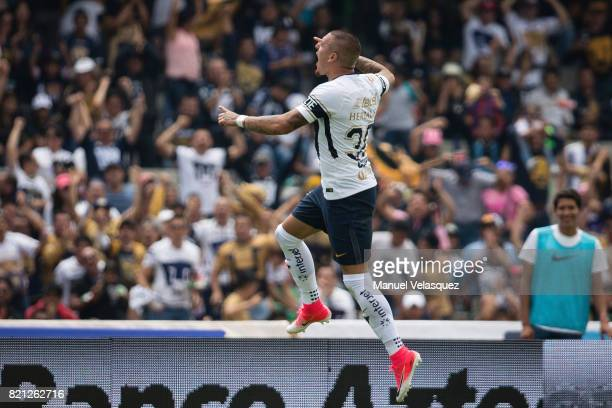 Nicolas Castillo of Pumas celebrates after scoring the opening goal of his team during the 1st round match between Pumas UNAM and Pachuca as part of...