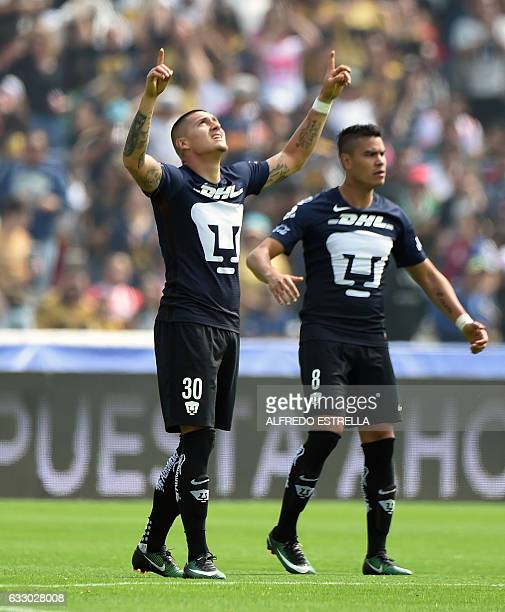Nicolas Castillo of Pumas celebrates with his teammate Pablo Barrera after scoring against Necaxa during their Mexican Clausura 2017 Tournament...