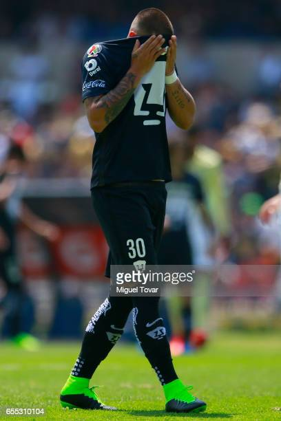 Nicolas Castillo of Pumas reacts during the 11st round match between Pumas UNAM and Club America as par of the Torneo Clausura 2017 Liga MX at...