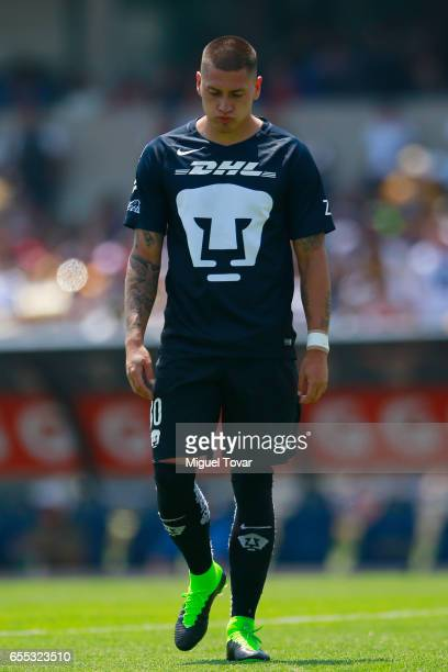 Nicolas Castillo of Pumas reacts during the 11st round match between Pumas UNAM and America as par of the Torneo Clausura 2017 Liga MX at Olympic...