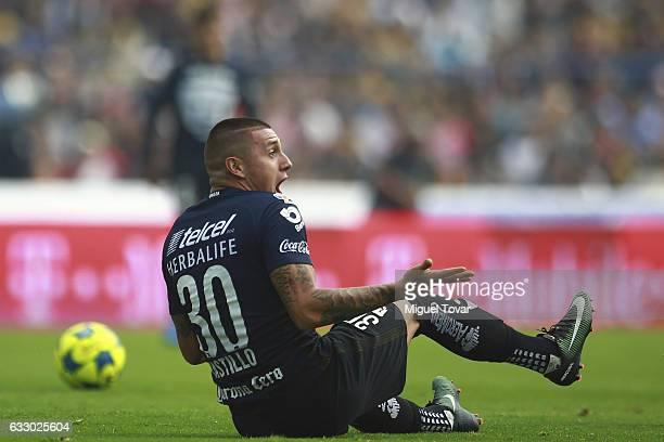 Nicolas Castillo of Pumas reacts during the 4th round match between Pumas UNAM and Necaxa as part of the Torneo Clausura 2017 Liga MX at Olimpico...