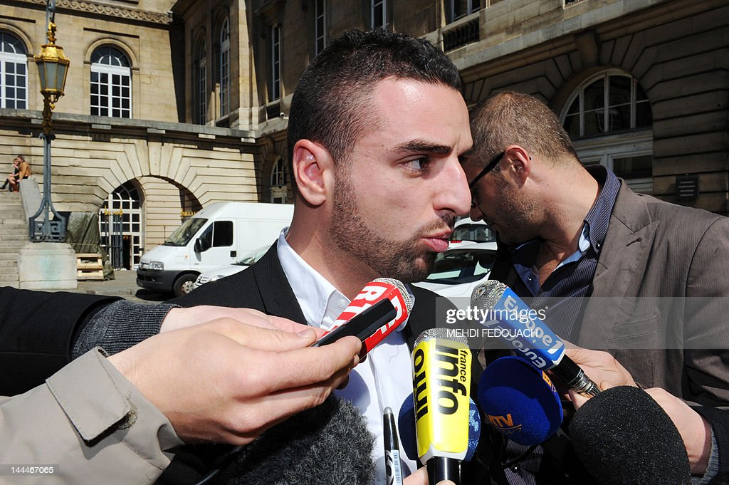Nicolas Cellupica, lawyer of firefighters who took action after thirteen Paris firefighters were arrested on May 9, 2012 after a recruit claimed he was raped in an initiation ceremony filmed with a telephone, speaks to media on May 14, 2012 in front of Paris court. The victim, whom officials did not name, told police the incident happened in a bus carrying a 30-strong Paris firefighter sports team back from a gymnastics competition in the eastern city of Colmar. FEDOUACH