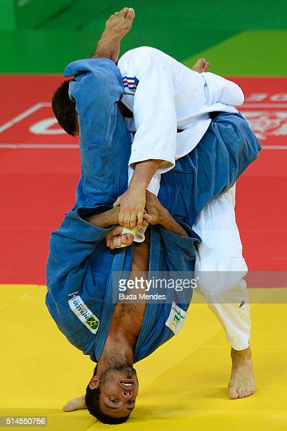 Nicolas Chilard of France fights with Igor Pereira of Brazil during the 81kg category men bronze medal at the International Judo Tournament Aquece...