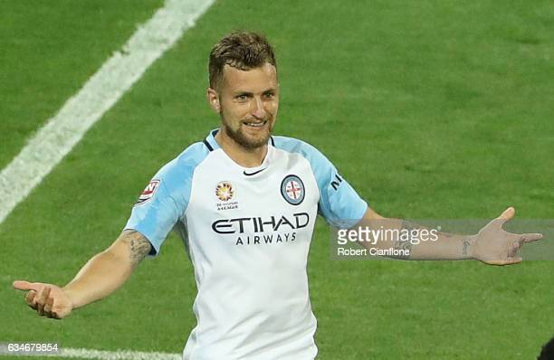 Nicolas Colazo of Melbourne City celebrates after scoring a penalty during the round 19 ALeague match between Melbourne City FC and the Brisbane Roar...