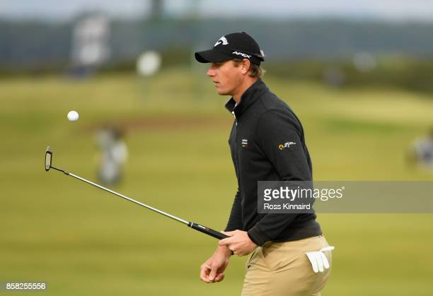 Nicolas Colsaerts is pictured on the 16th green during day two of the 2017 Alfred Dunhill Championship at The Old Course on October 6 2017 in St...