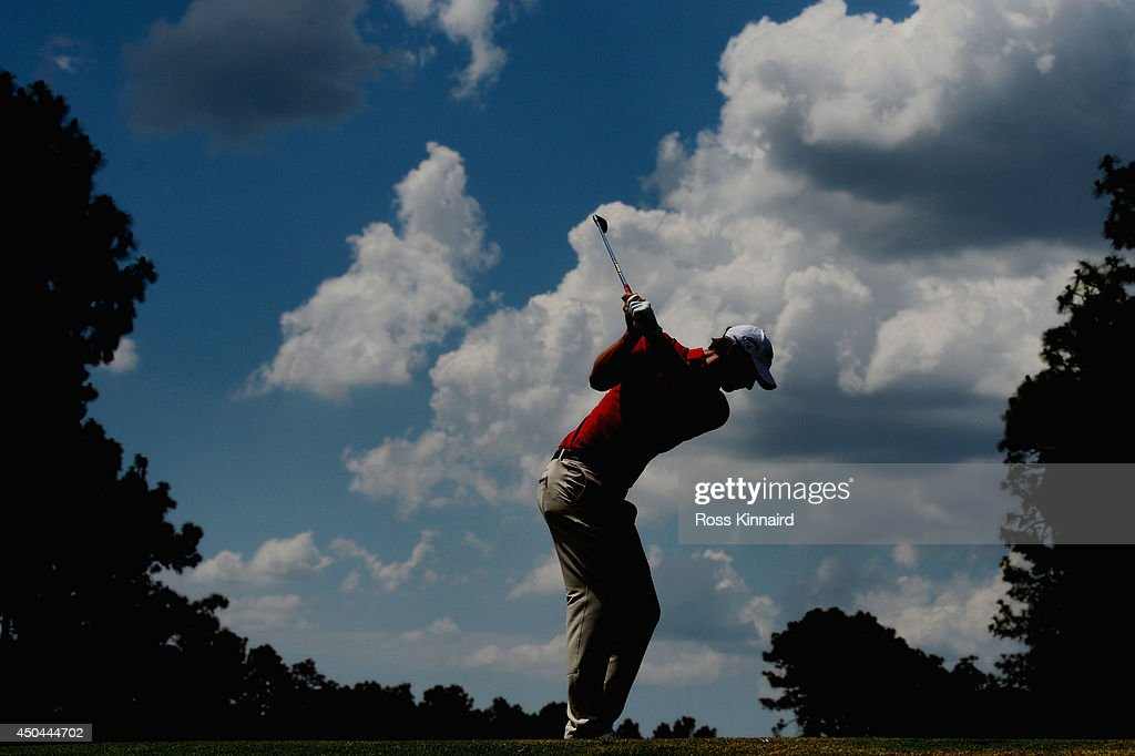 Nicolas Colsaerts of Belgium hits a tee shot during a practice round prior to the start of the 114th US Open at Pinehurst Resort Country Club Course...