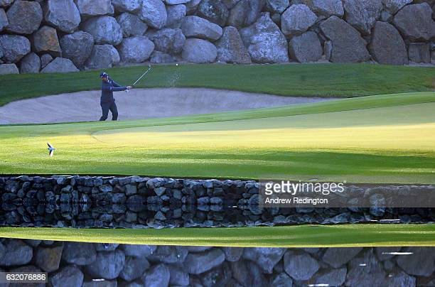 Nicolas Colsaerts of Belgium hits his second shot from a bunker on the 12th hole during the first round of the Abu Dhabi HSBC Championship Abu Dhabi...