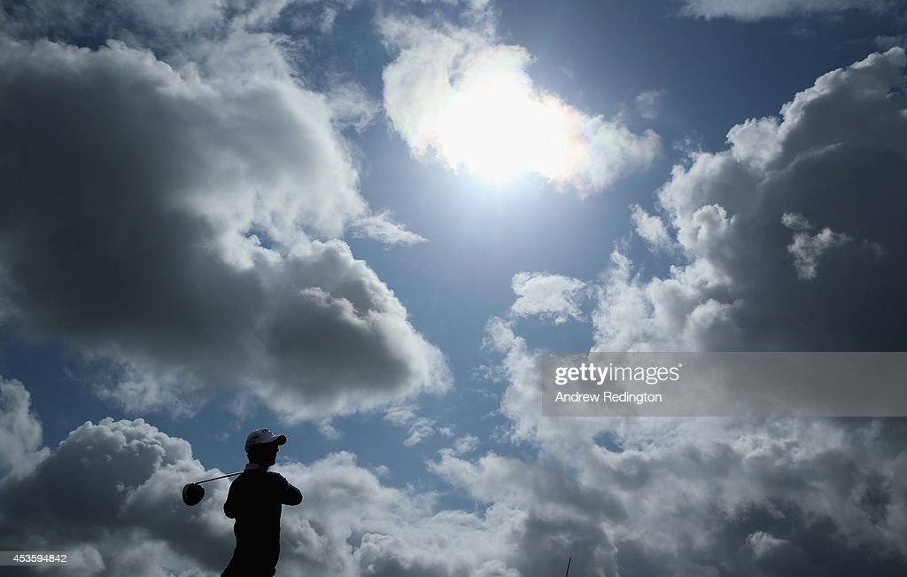 Nicolas Colsaerts of Belgium hits his teeshot on the third hole during the first round of the Made In Denmark at Himmerland Golf Spa Resort on August...