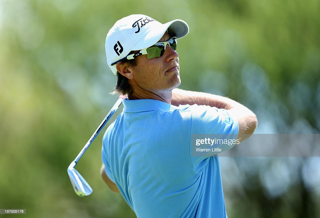 Nicolas Colsaerts of Belgium in action during a practice round ahead of the Nedbank Golf Challenge at the Gary Player Country Club on November 27, 2012 in Sun City, South Africa.