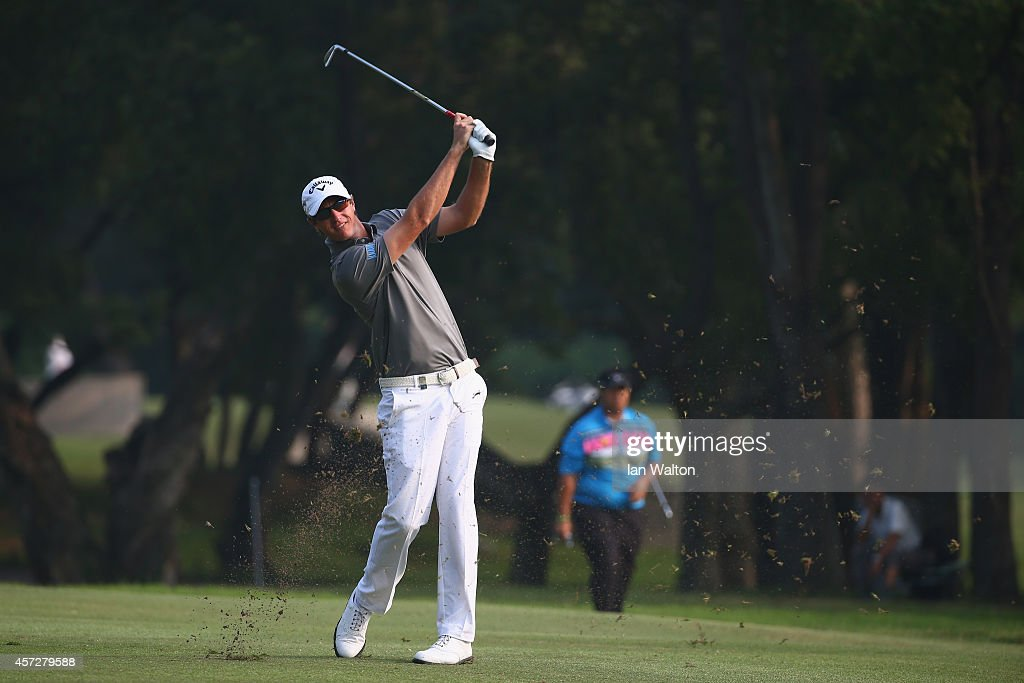 Nicolas Colsaerts of Belgium in action during the first round of the 2014 Hong Kong open at The Hong Kong Golf Club on October 16 2014 in Hong Kong...