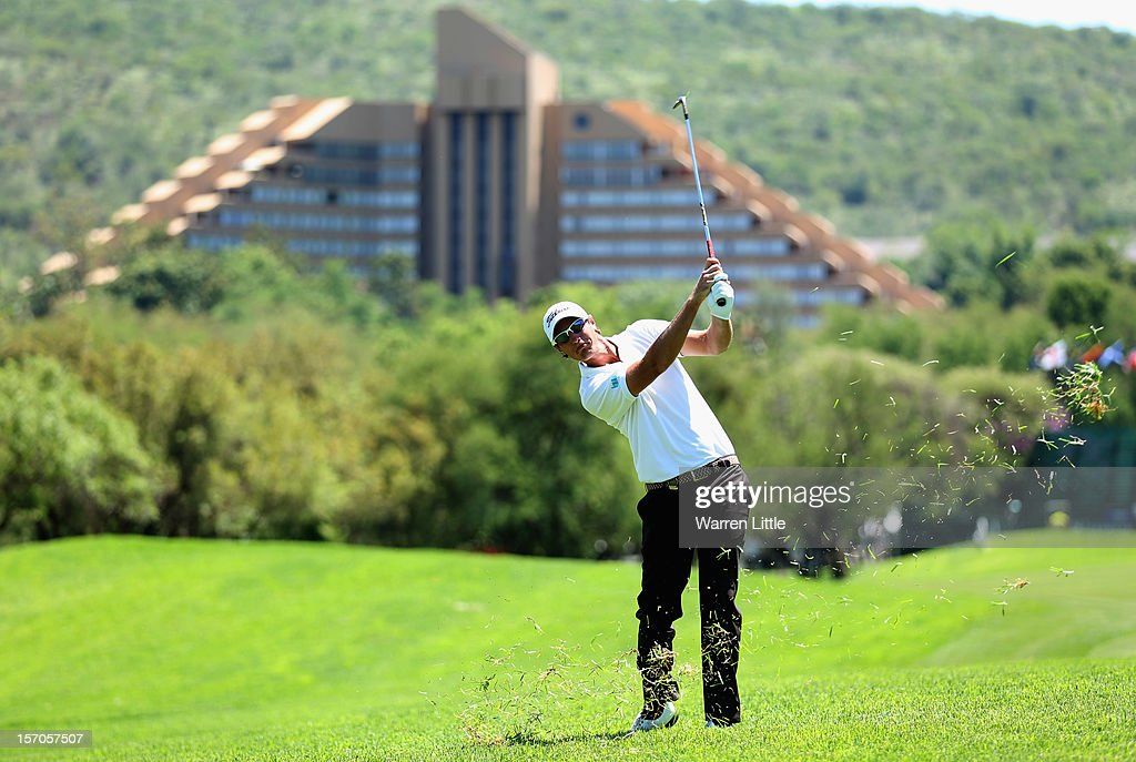 Nicolas Colsaerts of Belgium in action during the Pro-Am of the Nedbank Golf Challenge at the Gary Player Country Club on November 28, 2012 in Sun City, South Africa.