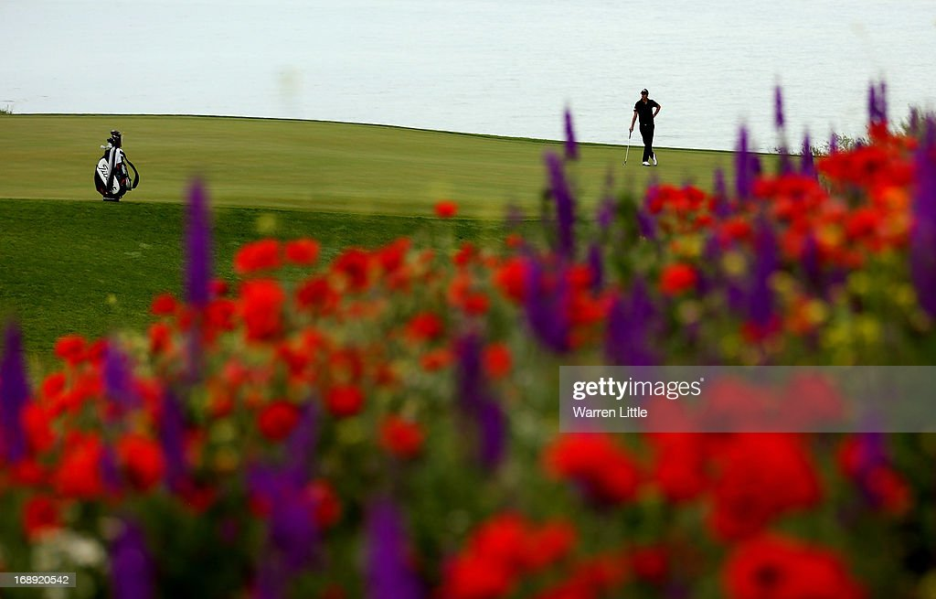 Nicolas Colsaerts of Belgium looks on during the morning matches on day two of the Volvo World Match Play Championship at Thracian Cliffs Golf Beach...