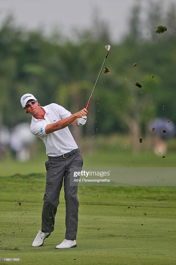 Nicolas Colsaerts of Belgium plays a shot during round four of the Thailand Golf Championship at Amata Spring Country Club on December 9, 2012 in Bangkok, Thailand.