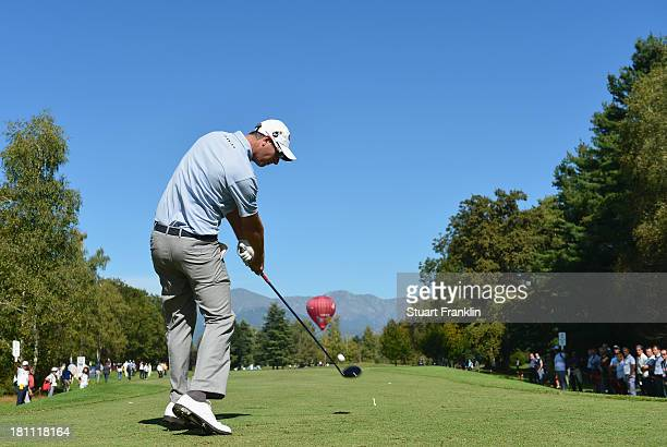 Nicolas Colsaerts of Belgium plays a shot during the first round of the Italian Open golf at Circolo Golf Torino on September 19 2013 in Turin Italy