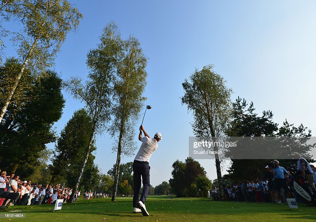 Nicolas Colsaerts of Belgium plays a shot during the second round of the Italian Open golf at Circolo Golf Torino on September 20 2013 in Turin Italy