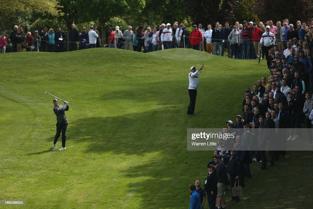 Nicolas Colsaerts of Belgium plays his approach on the first hole during the third round of the BMW PGA Championship on the West Course at Wentworth on May 25, 2013 in Virginia Water, England.