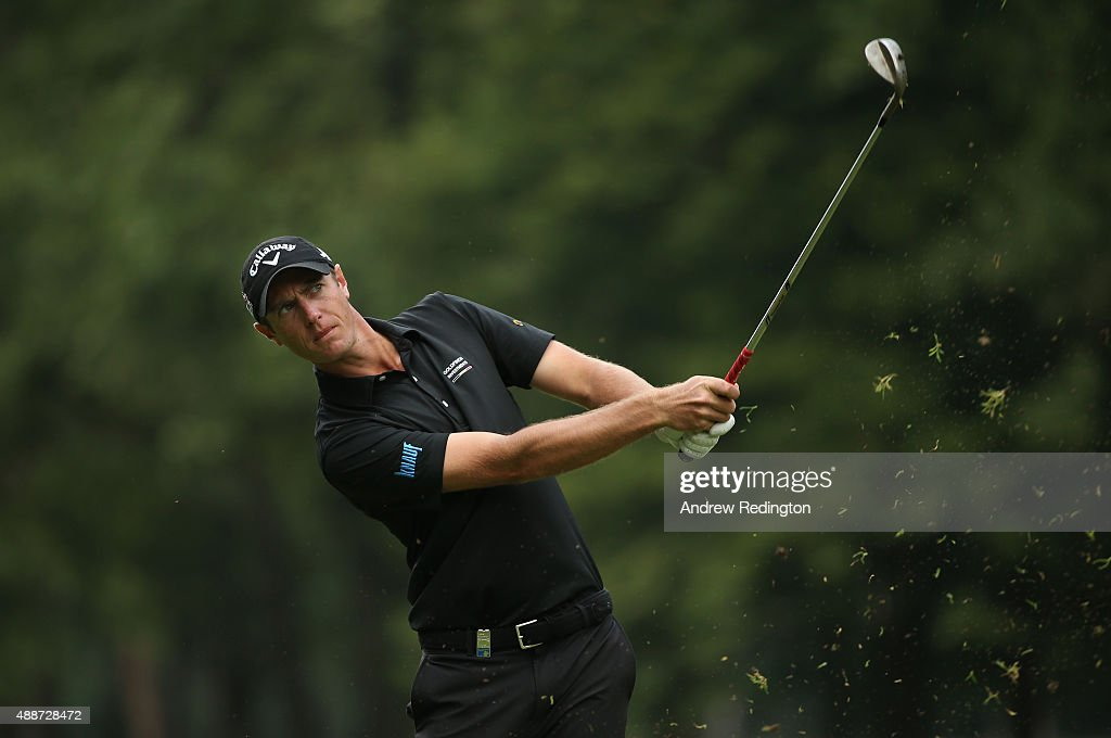 Nicolas Colsaerts of Belgium plays his second shot on the eighth hole during the first round of the 72nd Open d'Italia at Golf Club Milano on...