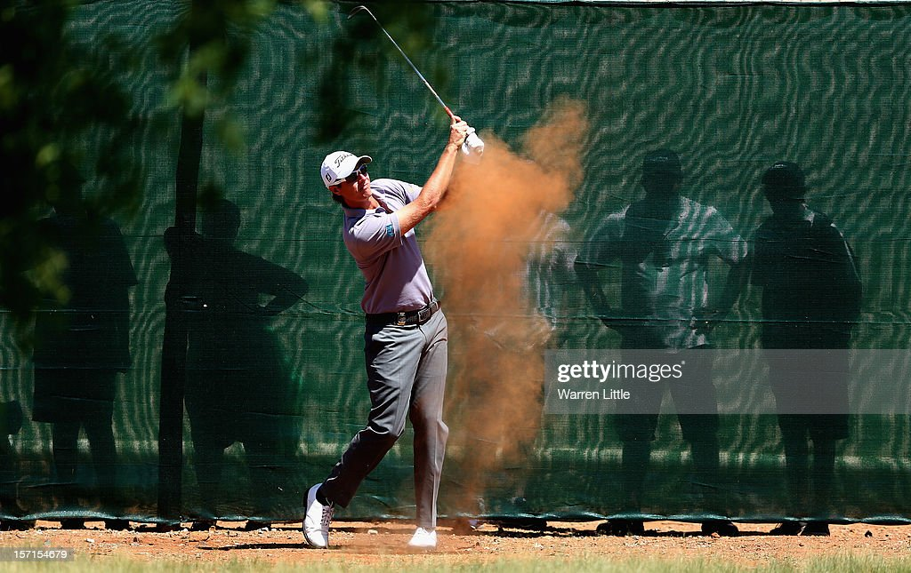 Nicolas Colsaerts of Belgium plays his second shot on the ninth hole during the first round of the Nedbank Golf Challenge at the Gary Player Country Club on November 29, 2012 in Sun City, South Africa.