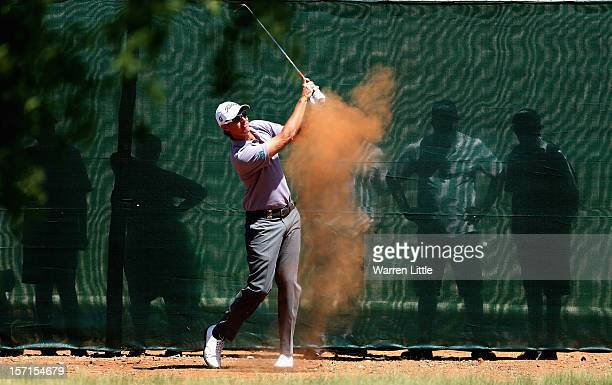 Nicolas Colsaerts of Belgium plays his second shot on the ninth hole during the first round of the Nedbank Golf Challenge at the Gary Player Country...
