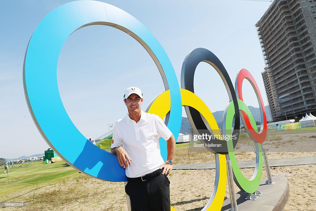 Nicolas Colsaerts of Belgium poses near a set of Olympic rings on a practice day during Day 2 of the Rio 2016 Olympic Games at Olympic Golf Course on August 7, 2016 in Rio de Janeiro, Brazil.