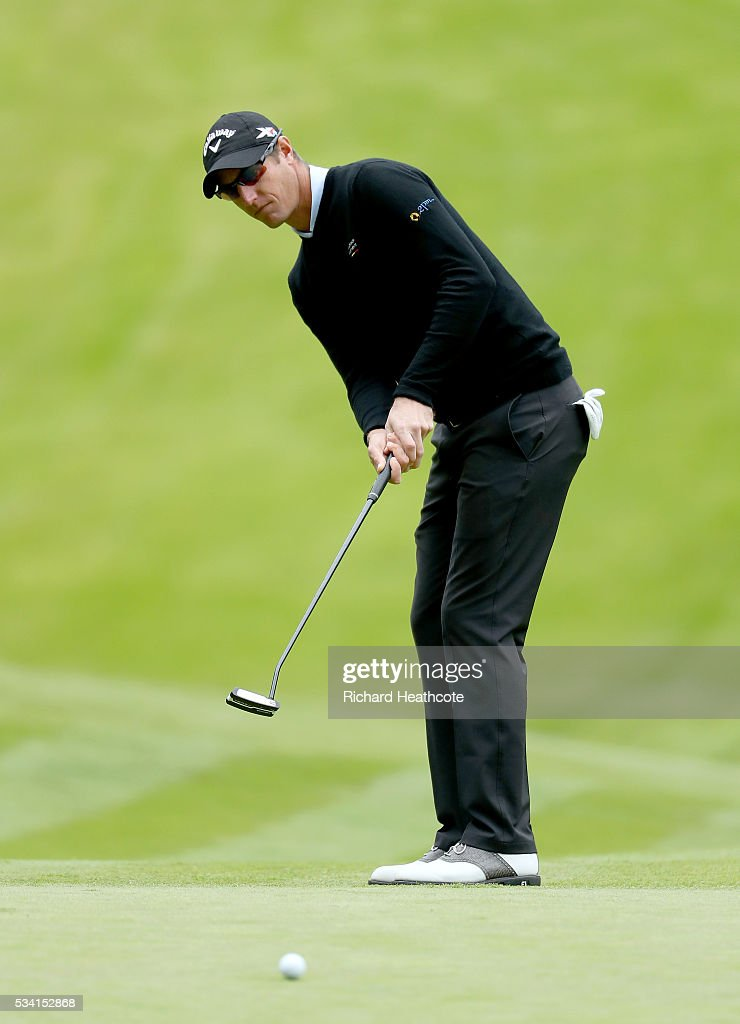 <a gi-track='captionPersonalityLinkClicked' href=/galleries/search?phrase=Nicolas+Colsaerts&family=editorial&specificpeople=216573 ng-click='$event.stopPropagation()'>Nicolas Colsaerts</a> of Belgium putts during the Pro-Am prior to the BMW PGA Championship at Wentworth on May 25, 2016 in Virginia Water, England.