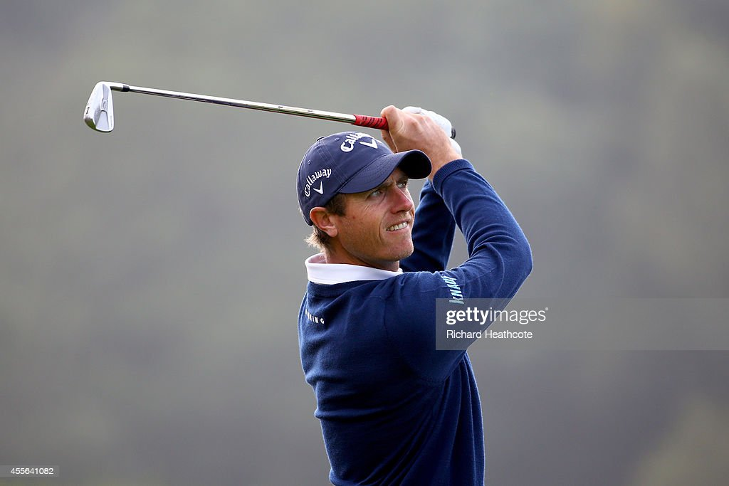 Nicolas Colsaerts of Belgium tee's off at the 17th during the first round of the ISPS Handa Wales Open at Celtic Manor Resort on September 18 2014 in...