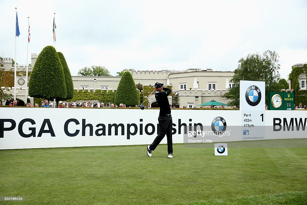 <a gi-track='captionPersonalityLinkClicked' href=/galleries/search?phrase=Nicolas+Colsaerts&family=editorial&specificpeople=216573 ng-click='$event.stopPropagation()'>Nicolas Colsaerts</a> of Belgium tees off during the Pro-Am prior to the BMW PGA Championship at Wentworth on May 25, 2016 in Virginia Water, England.