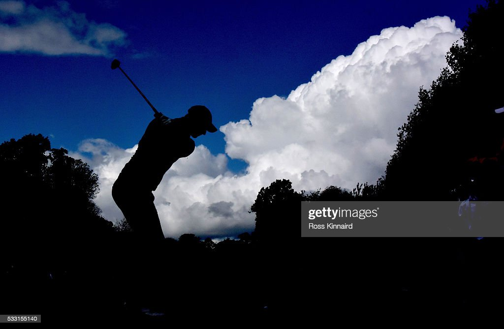 Nicolas Colsaerts of Belgium tees off on the 2nd hole during the third round of Dubai Duty Free Irish Open hosted by the Rory Foundation at The K...