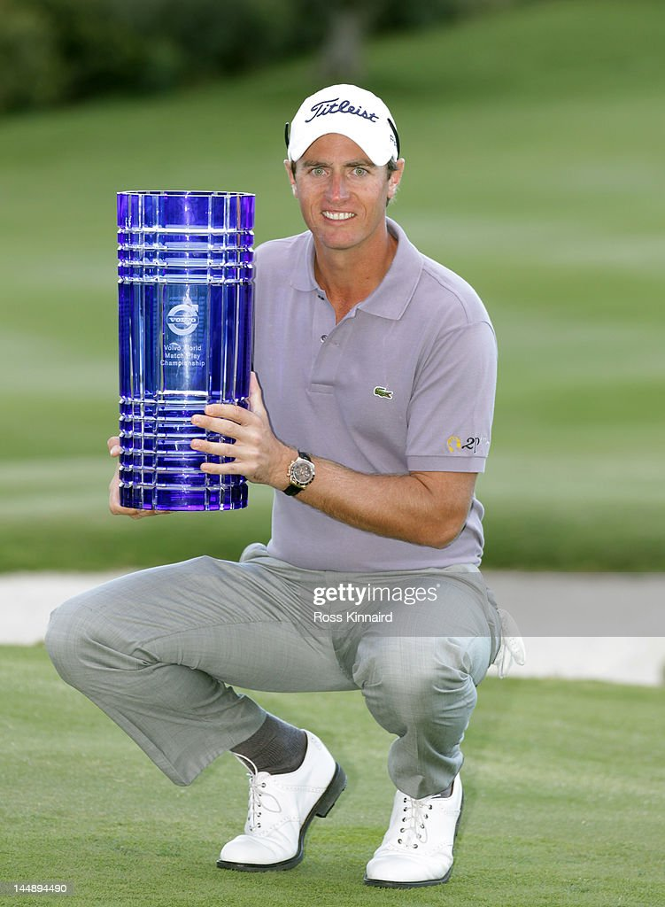 Nicolas Colsaerts of Belgium with the winners trophy after the Final on Day Four of the Volvo World Match Play Championship at Finca Cortesin Golf...