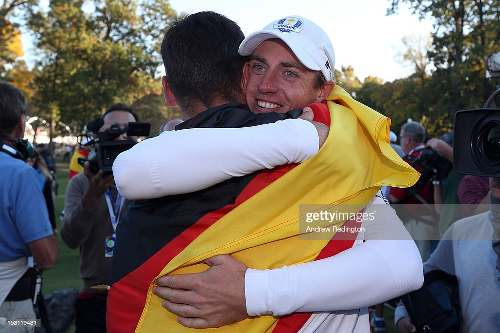 Nicolas Colsaerts of Europe celebrates after Europe defeated the USA 145 to 135 to retain the Ryder Cup during the Singles Matches for The 39th Ryder...
