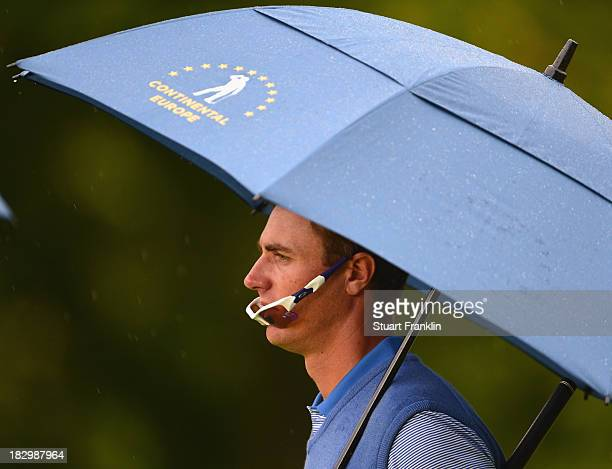 Nicolas Colsaerts of the European team looks on during the first day's fourballs at the Seve Trophy at Golf de SaintNomlaBreteche on October 3 2013...