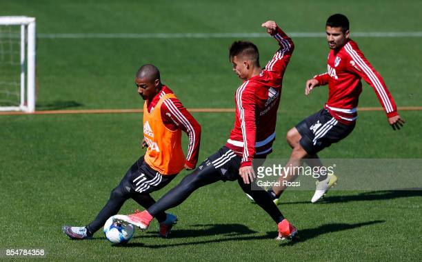 Nicolas De La Cruz of River Plate fights for the ball with Marcel Picazzo of River Plate during a training session at River Plate's training camp on...