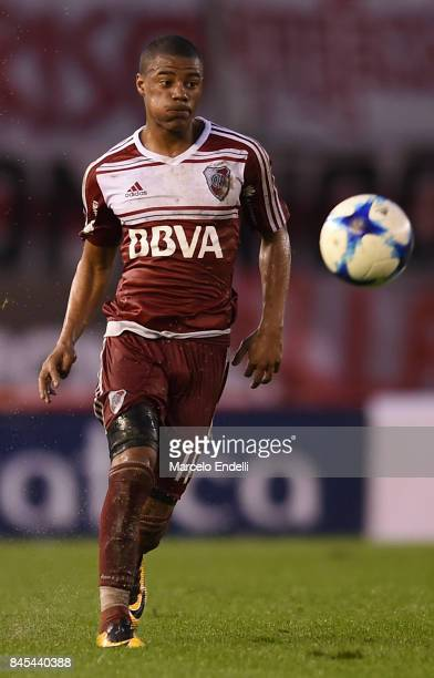 Nicolas De La Cruz of River Plate kicks the ball during a match between River Plate and Banfield as part of Superliga 2017/18 at Monumental Stadium...