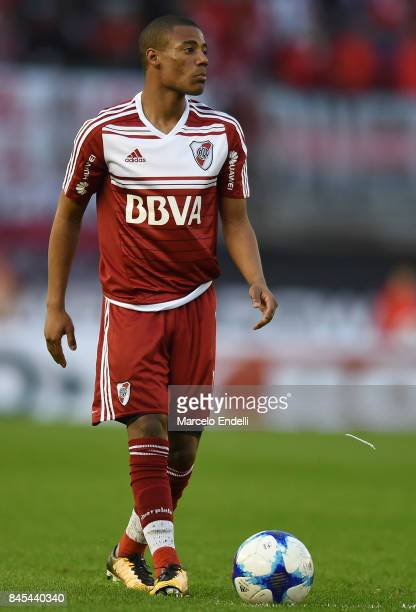 Nicolas De La Cruz of River Plate looks on during a match between River Plate and Banfield as part of Superliga 2017/18 at Monumental Stadium on...