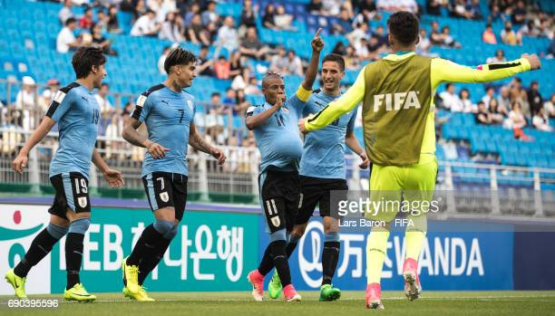 Nicolas de la Cruz of Uruguay celebrates after scoring his teams first goal during the FIFA U20 World Cup Korea Republic 2017 Round of 16 match...