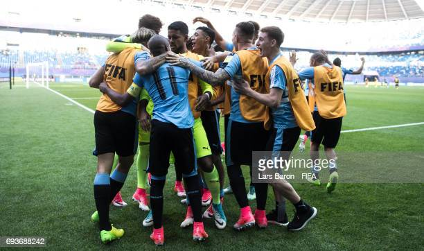 Nicolas de la Cruz of Uruguay celebrates with team mates after scoring his teams first goal during the FIFA U20 World Cup Korea Republic 2017 Semi...