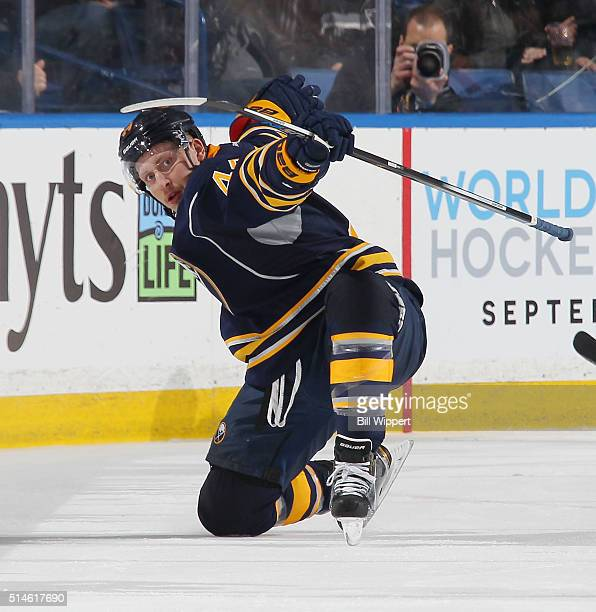 Nicolas Deslauriers of the Buffalo Sabres celebrates a goal against the Calgary Flames during an NHL game on March 3 2016 at the First Niagara Center...