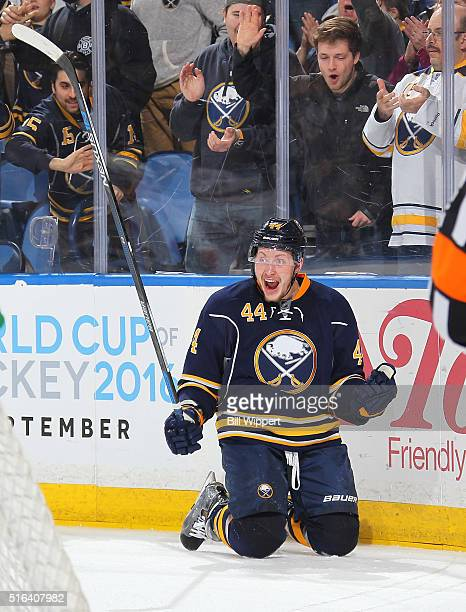 Nicolas Deslauriers of the Buffalo Sabres celebrates his first period goal against the Ottawa Senators during an NHL game on March 18 2016 at the...