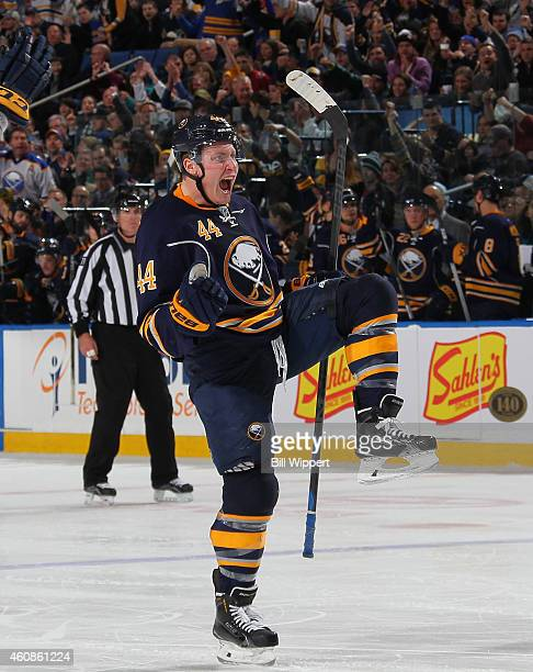 Nicolas Deslauriers of the Buffalo Sabres celebrates his third period goal against the New York Islanders on December 27 2014 at the First Niagara...