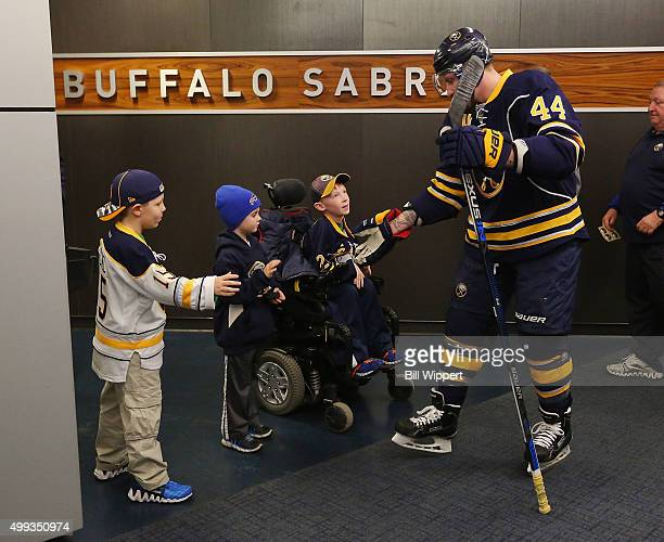 Nicolas Deslauriers of the Buffalo Sabres greets fans before playing the Nashville Predators in an NHL game on November 25 2015 at the First Niagara...
