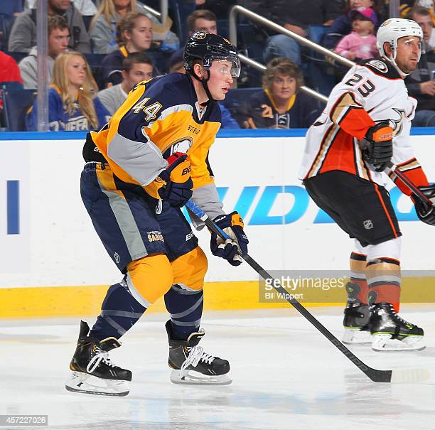 Nicolas Deslauriers of the Buffalo Sabres skates against the Anaheim Ducks on October 13 2014 at the First Niagara Center in Buffalo New York