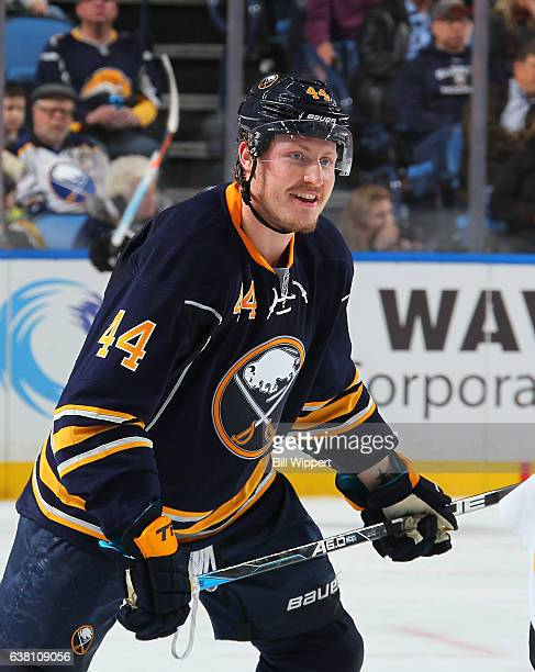 Nicolas Deslauriers of the Buffalo Sabres skates against the Boston Bruins during an NHL game at the KeyBank Center on December 29 2016 in Buffalo...