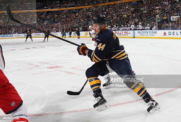 Nicolas Deslauriers of the Buffalo Sabres skates against the Columbus Blue Jackets on October 12 2015 at the First Niagara Center in Buffalo New York