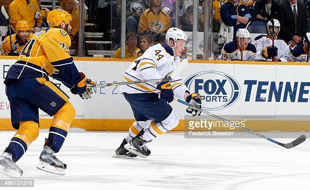 Nicolas Deslauriers of the Buffalo Sabres skates against the Nashville Predators during the third period at Bridgestone Arena on November 28 2015 in...