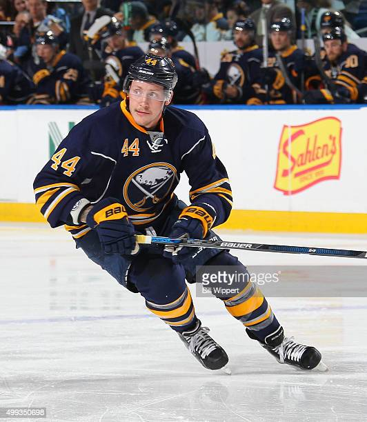 Nicolas Deslauriers of the Buffalo Sabres skates against the Nashville Predators during an NHL game on November 25 2015 at the First Niagara Center...
