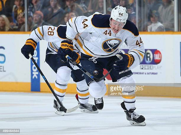 Nicolas Deslauriers of the Buffalo Sabres skates against the Nashville Predators during an NHL game at Bridgestone Arena on November 28 2015 in...